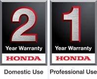 A Honda 2 year domestic use warranty logo, and a Honda 1 year professional use warranty logo.